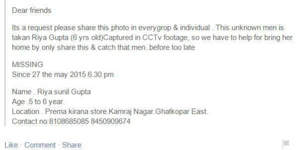 kidnapped facebook post india