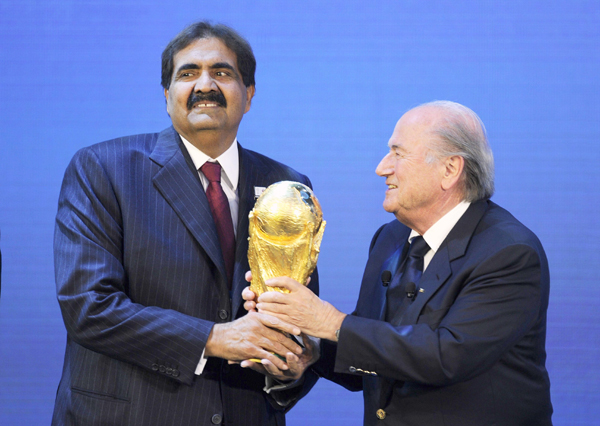 Sheikh Hamad bin Khalifa Al-Thani, Emir of Qatar with Sepp Blatter