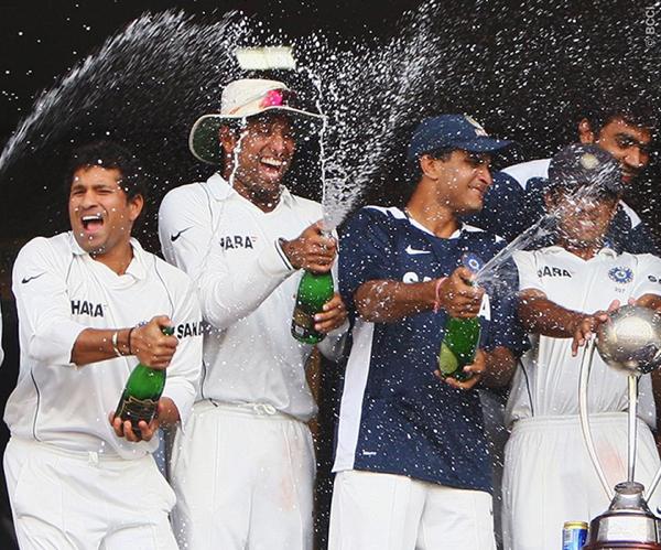 Sachin, Laxman and Ganguly celebrate