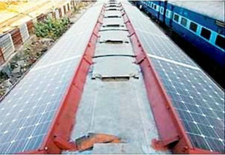 Solar panels on train