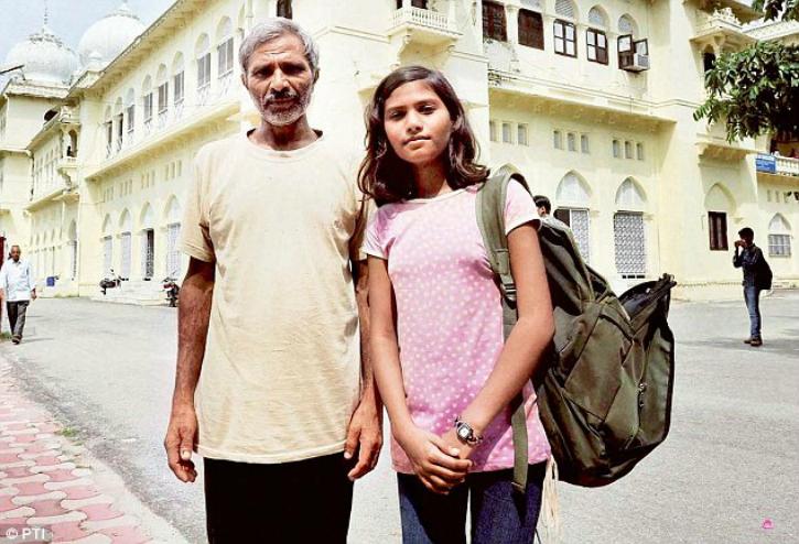 sushma verma, india's youngest postgraduate, with father tej bahadur