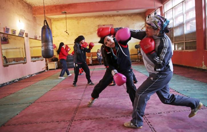 Afghan women boxers