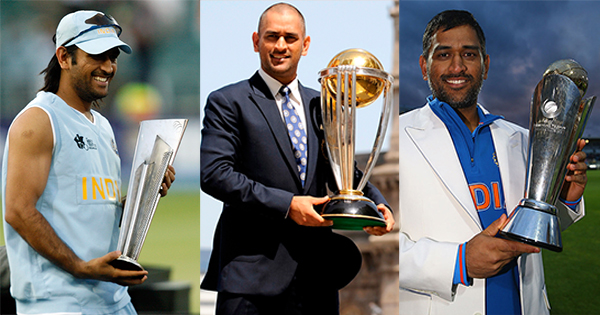 Dhoni with ICC trophies