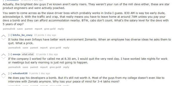 zomato reddit criticism