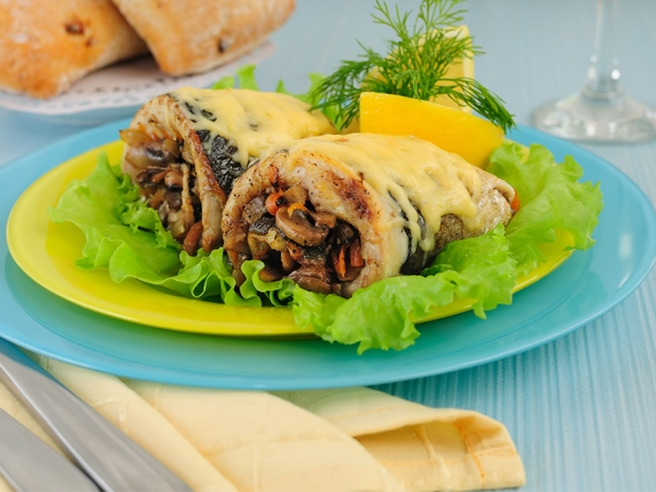 Baked Mushroom Rolls With Tomato And White Sauce Recipe