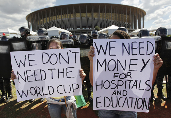 protesters against the 2014 FIFA World Cup in Brasillia