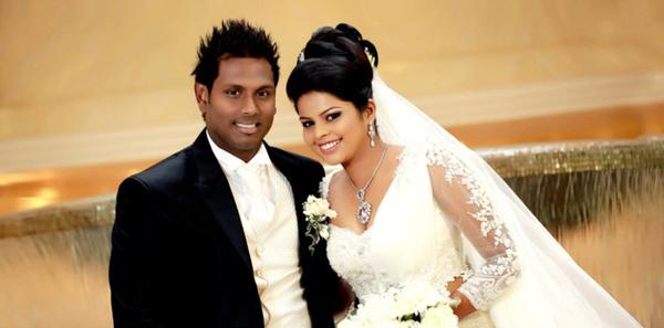 Angelo Mathews with wife Heshani
