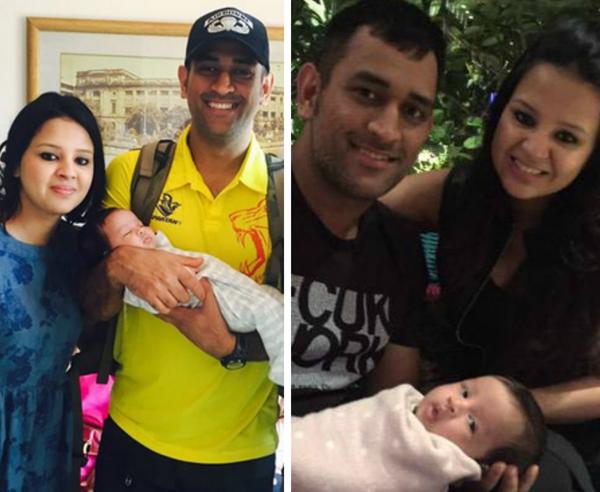 Dhoni with wife Sakshi and baby Ziva