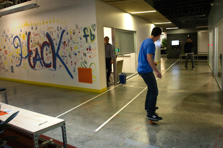 Skaterboards at Facebook office
