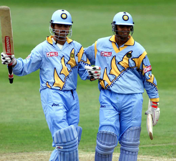 ganguly and Dravid during their 318-run stand