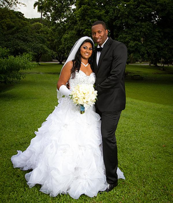 Kieron Pollard with wife