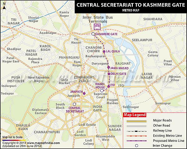 proposed kashmere gate secretariat metro