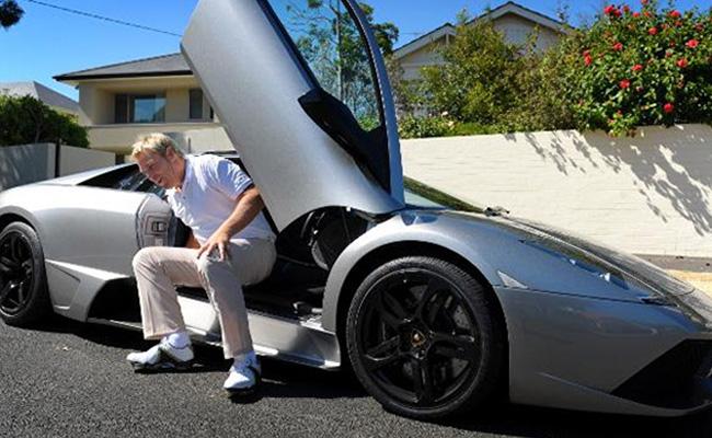 Shane Warne in his Lamborghini Murcielago