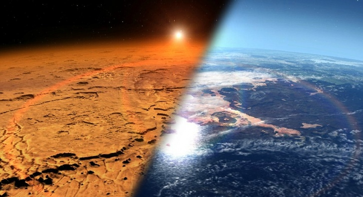 Martian atmosphere stripped off by solar winds