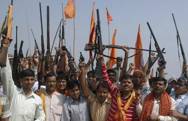 Bajrang Dal activists with their arms in Agra