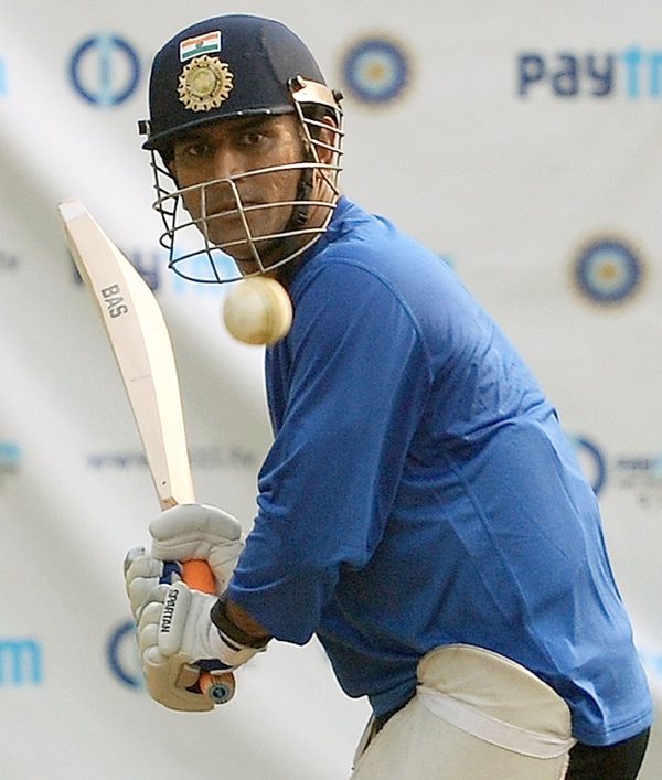 Dhoni batting at the nets