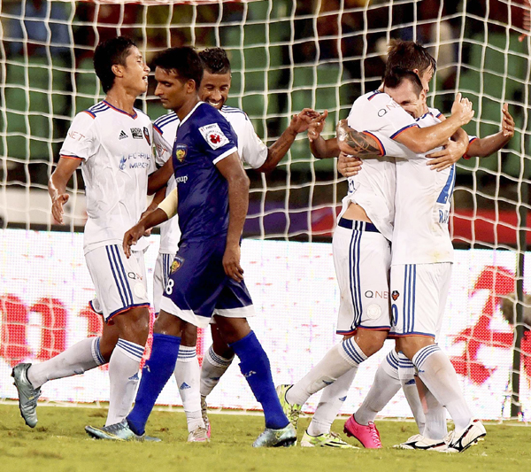 FC Goa players celebrate.