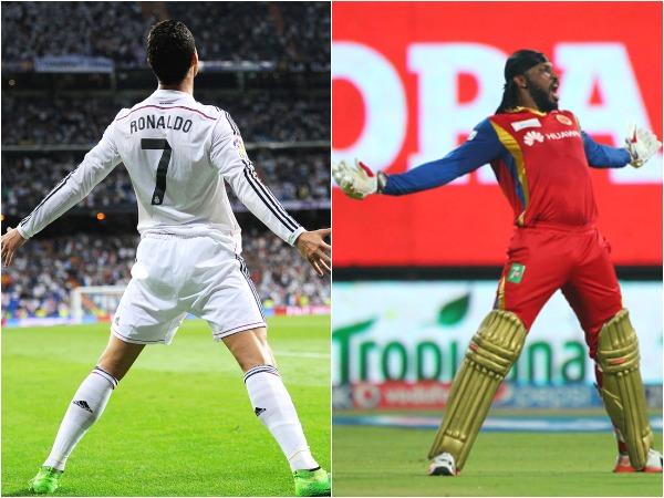 Gayle imitating Ronaldo