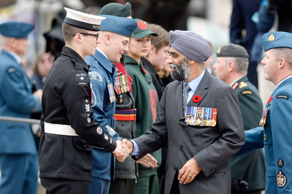 Harjit Singh shakes hand with a cadet during Remembrance Day celebrations (For representation only)