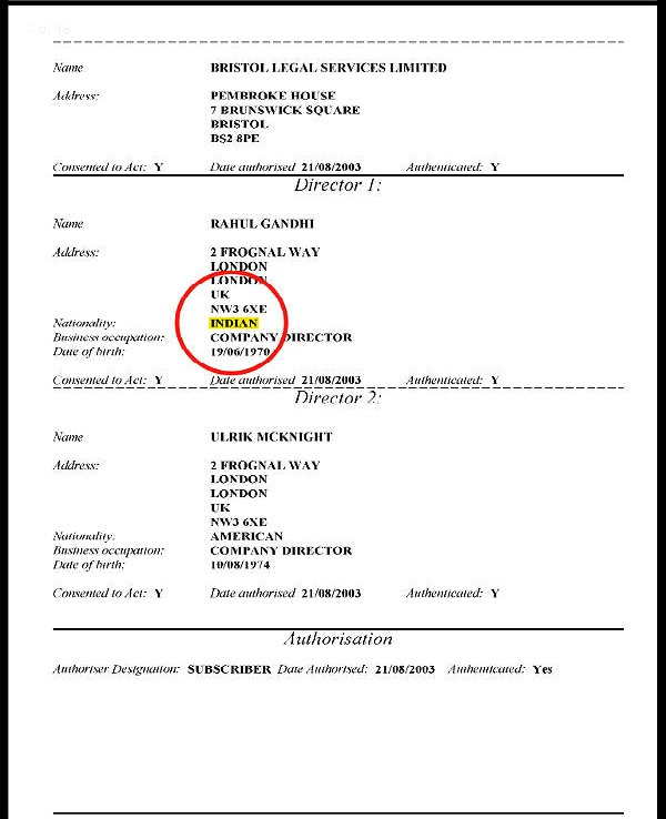 Rahul Gandhi Has British Citizenship
