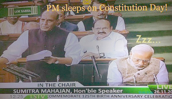Narendra Modi Caught Sleeping During Parliament Session, #PMJetLag Becomes Hottest Topic Around Town