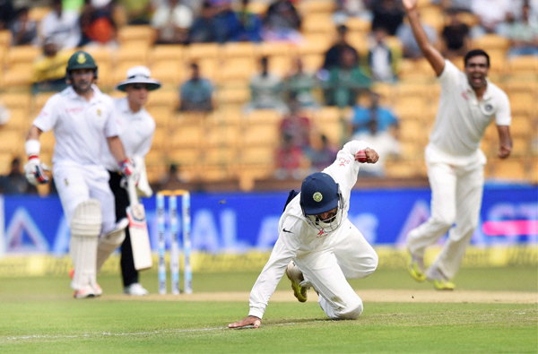 Pujara completes the catch at short leg