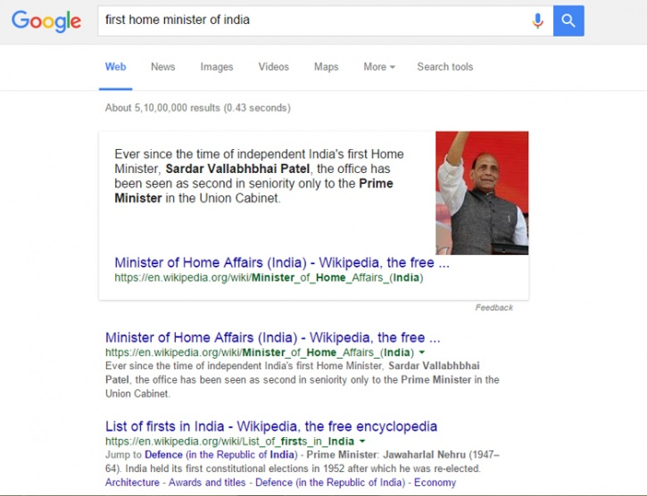 Rajnath Singh Is The First Home Minister Of India