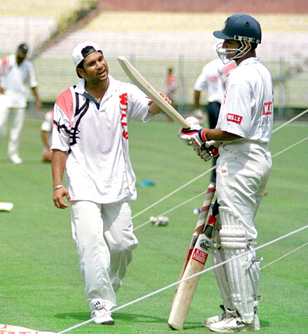 Sachin and Ganguly at the nets in 1998