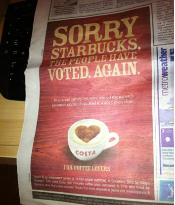 Starbucks v/s Costa Coffee