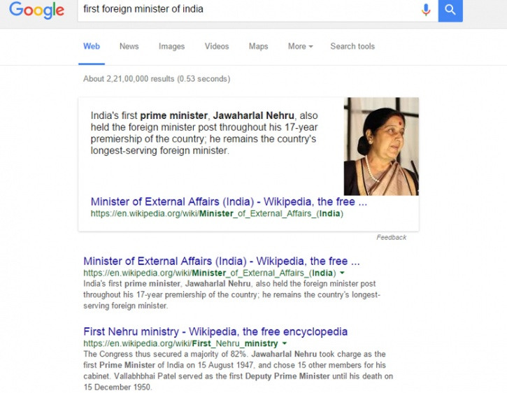 Sushma Swaraj Is The First Foreign Minister Of India