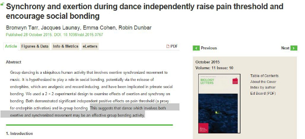 paper on synchronised dancing