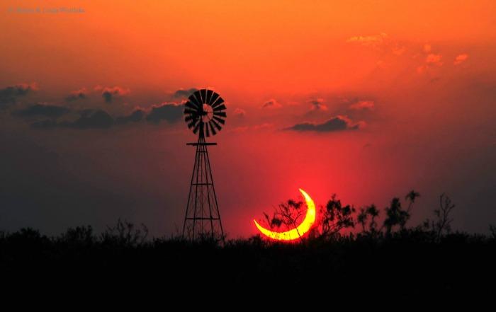 Partial solar eclipse, Texas