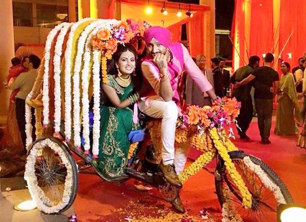 Harbhajan Singh with wife to be Geeta Basra
