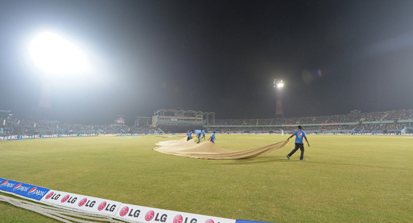 Dew on a cricket ground in India