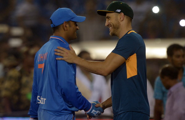 Dhoni with Du Plessis