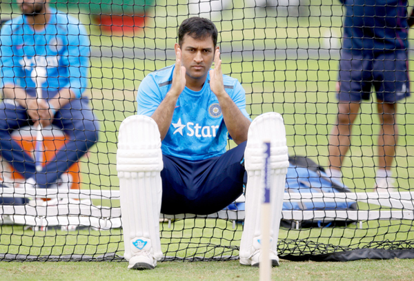 Dhoni at nets