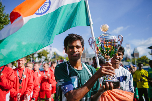 Indian team with the fifth division title at the Homeless World Cup in Amsterdam