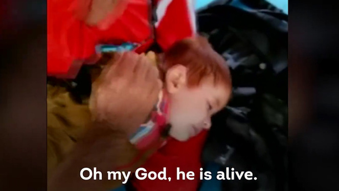 Syrian boy saved from drowning