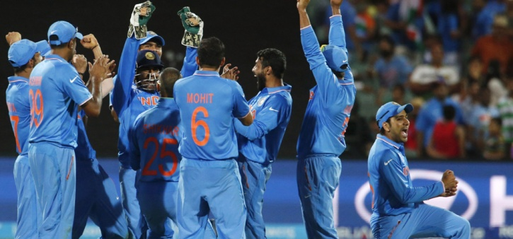 Team India after beating Pakistan in 2015 World Cup
