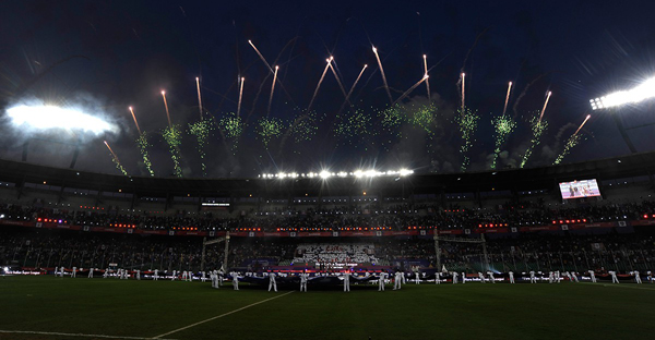 fireworks during opening ceremony at the opening ceremony in Chennai