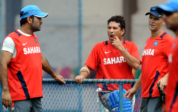 Kirsten with Sachin and Dhoni