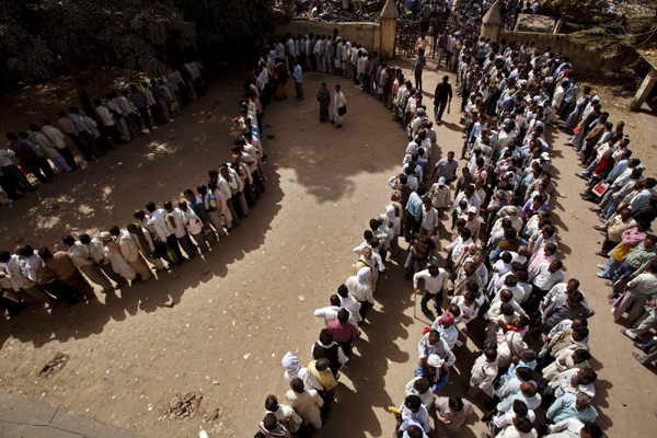 candidants queuing up for a government job
