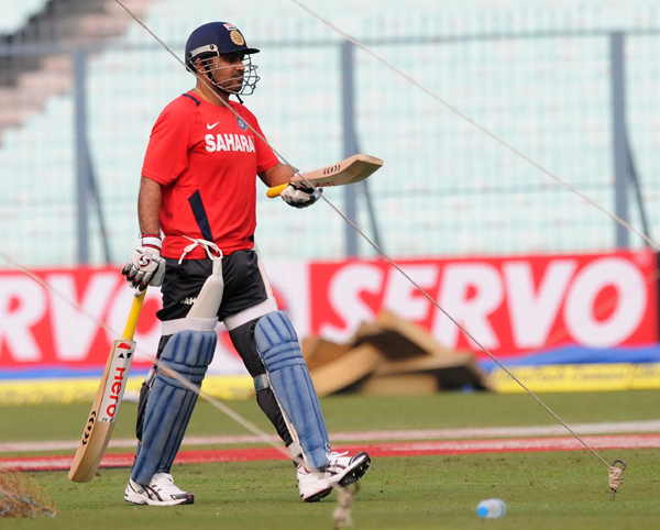 Sehwag practicing