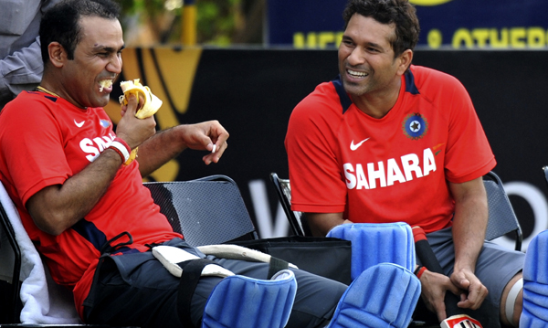 Sehwag and Sachin share a joke