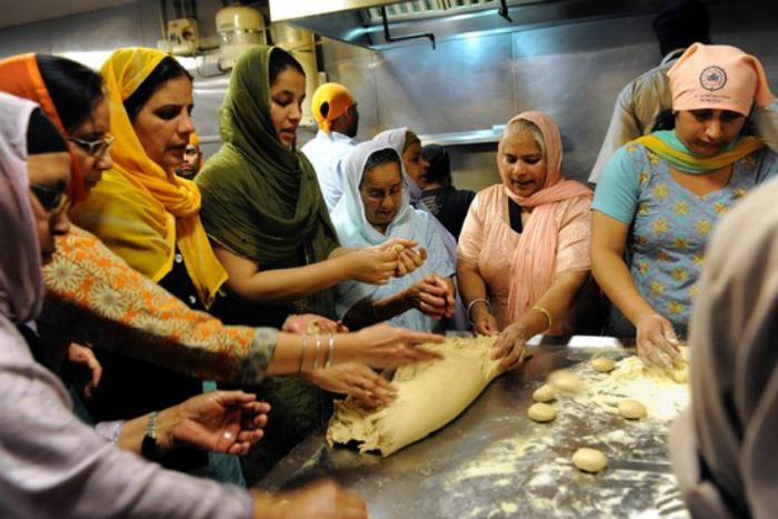 Women preparing food for langar