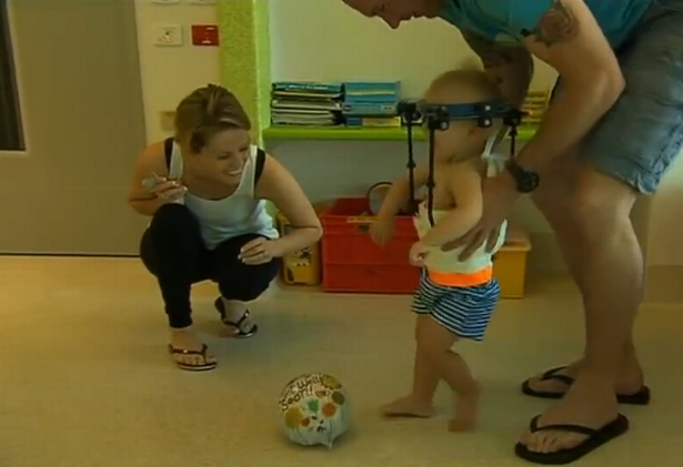 A toddler who suffered internal decapitation