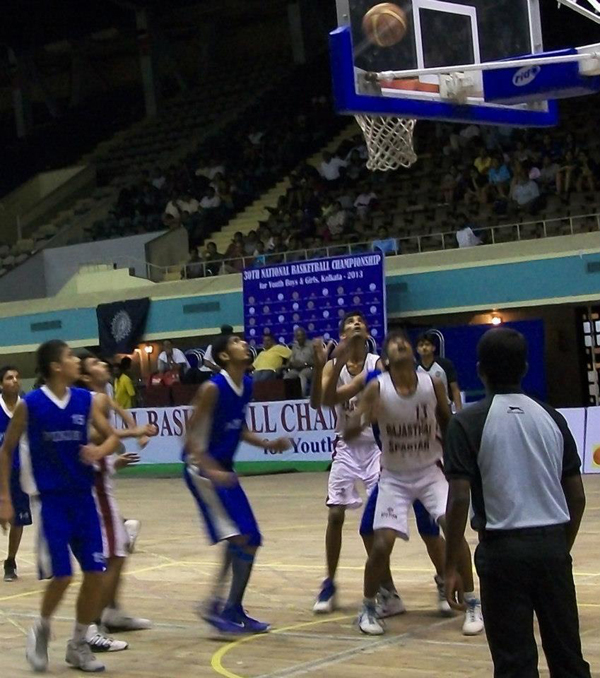 Boys playing basketball in a local championship (Representational image)