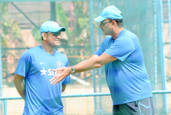 Dhoni with Shastri