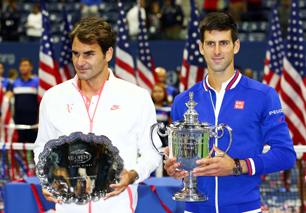Djokovic and Federer after the US Open final