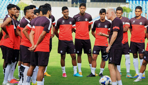 Indian football team with coach Constantine